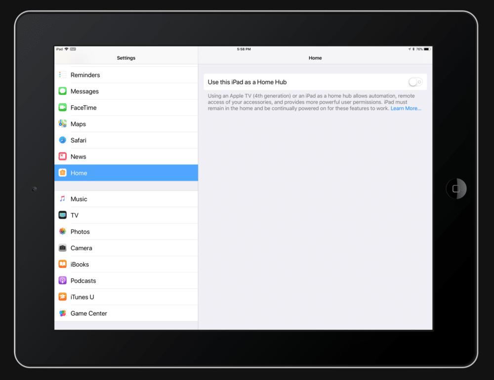 iPad HomeKit Hub For Bluetooth settings